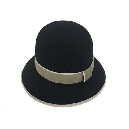 387c0299d1533 Alpas Ladies Black 100% Wool Felt Cloche Hat - image 1 of 1 ...