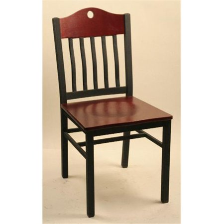 Alston Quality 3642UP-W-Ebony Port Chair With Upholstered Seat Walnut Frame