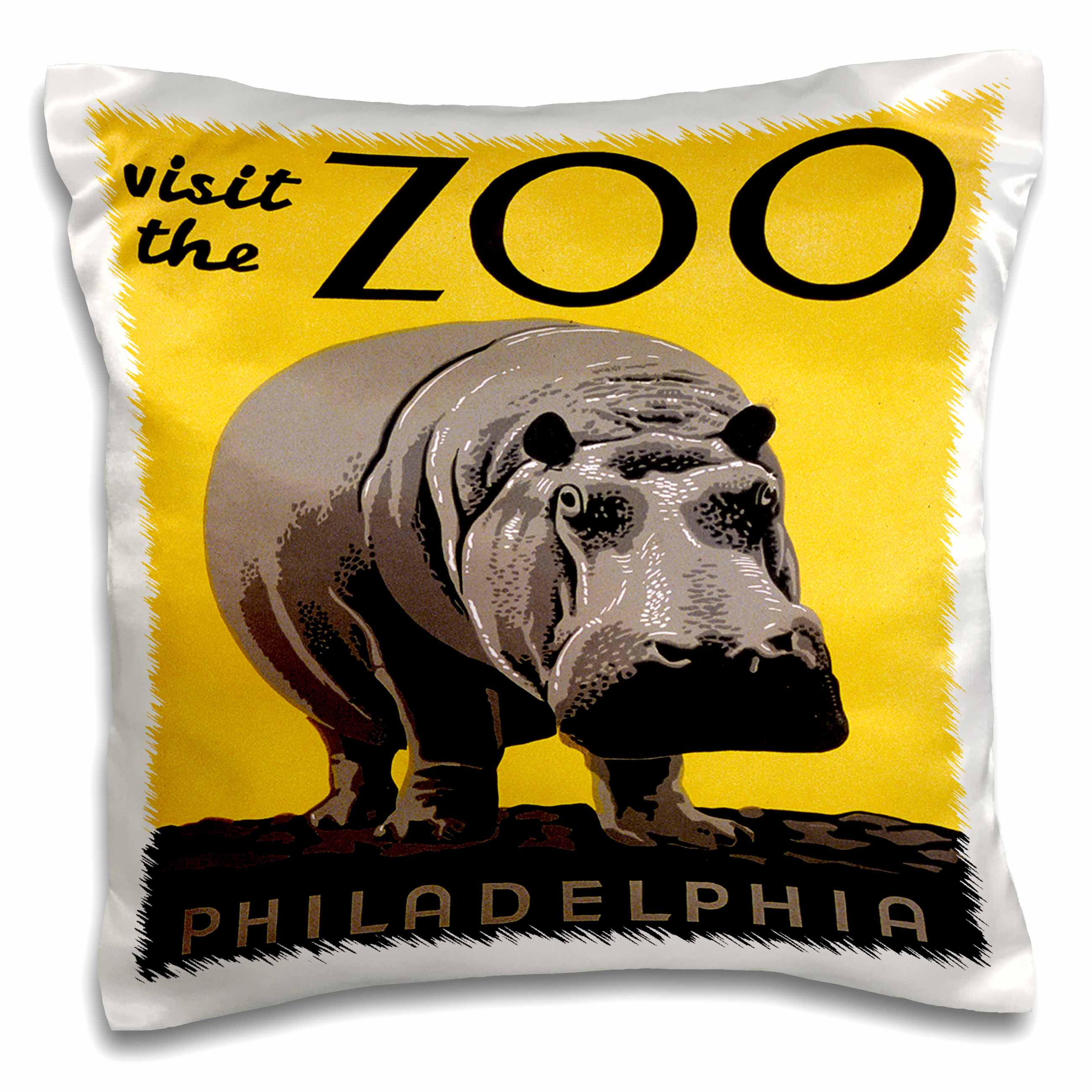 3dRose Visit the Zoo Philadelphia with Large Hippo on Yellow Background, Pillow Case, 16 by 16-inch