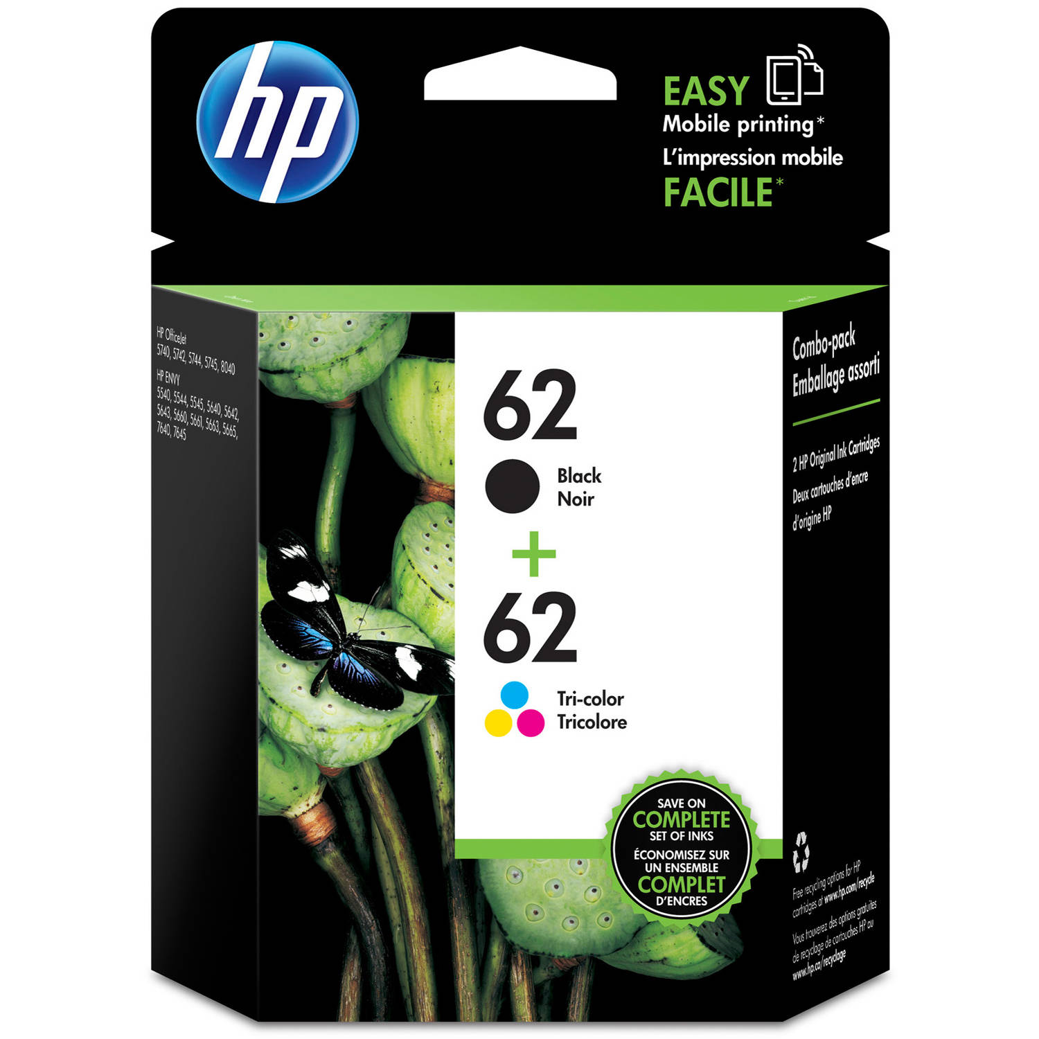 HP 62 Tri-Color/Black Ink Combo Cartridge, 2pk (N9H64FN#140)