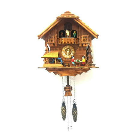 - ALEKO Handcrafted Wooden Cuckoo Wall Clock Home Art with Chirping Bird and Dancing Townsfolk 12 x 11 x 6.5 Inches - Brown