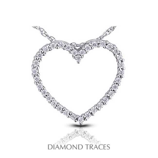 Diamond Traces 1.09 Carat Total Natural Diamonds 14K White Gold Prong Setting Heart Shape Fashion Pendant - image 1 de 1