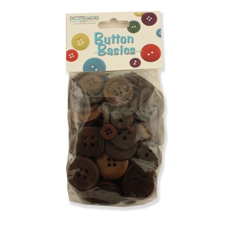 BUTTONS GALORE BIG BAG OF COLORFUL CRAFT & SEWING BUTTONS 5.5 OZ (APPROX 225 PCS) CHOCOLATE BROWN (Craft Buttons)