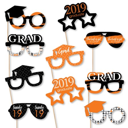 Orange Grad - Best is Yet to Come - Glasses - Orange 2019 Paper Card Stock Graduation Photo Booth Props Kit - 10