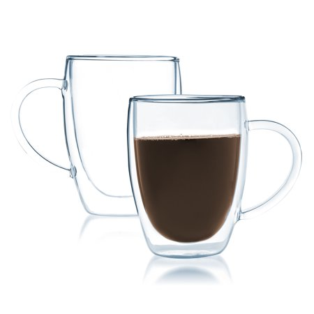 Bistro Mug with Handle from JavaFly, Double Walled Thermo Glass Cup, Set of 2 - 12oz