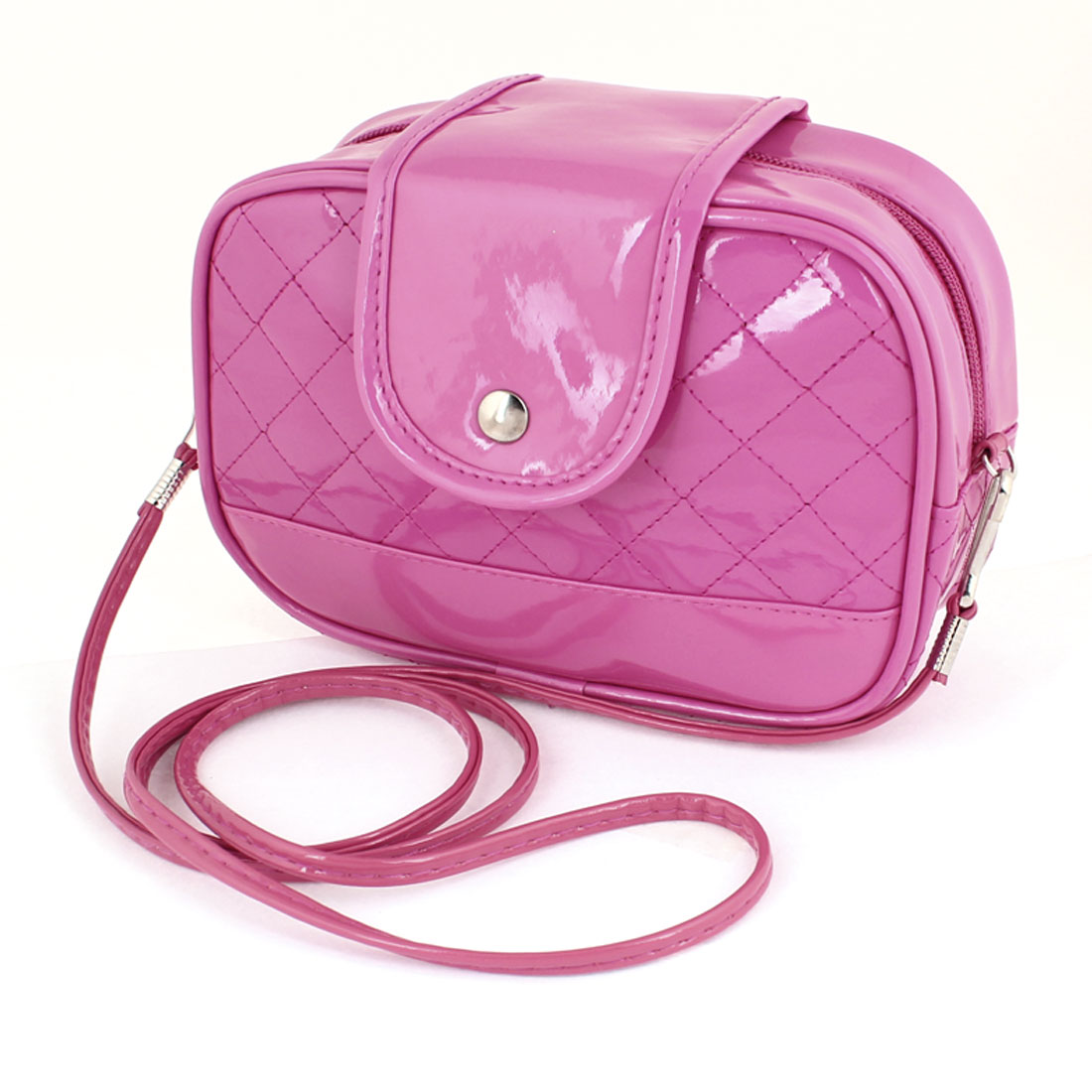 Fuchsia Faux Leather Grid Design Zippered Magnetic Stud Closure Shoulder Bag