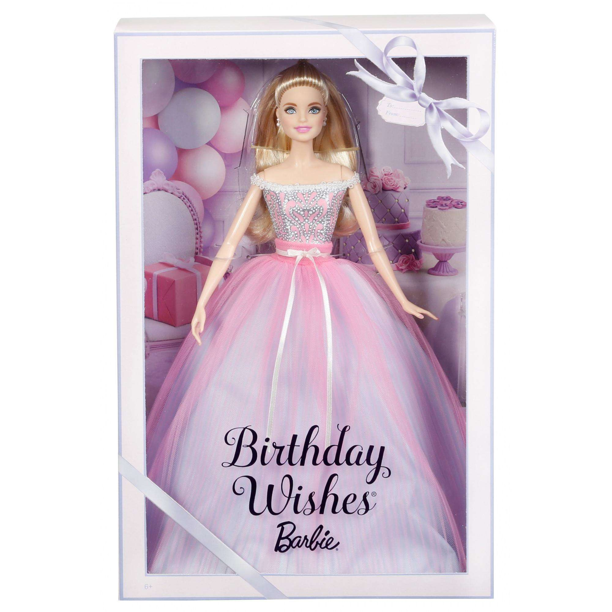 Birthday Wishes Barbie Doll Blonde Hair Wearing Pink Party Dress