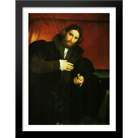 Portrait of a gentleman with lion paw 28x38 Large Black Wood Framed Print Art by Lorenzo Lotto](Lion Paw Print)