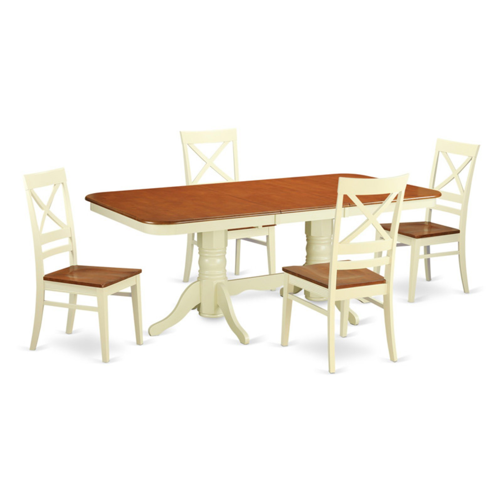 East West Furniture Napoleon 5 Piece Dining Table Set with Quincy Wooden Chairs