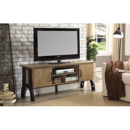 Furniture of America Stevenson Industrial Rustic Oak 60-inch TV Stand