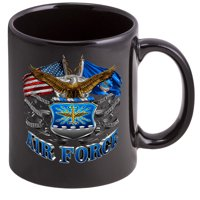 Coffee Cup with USAF Double Flag Logo - Stoneware Mug, Patriotic Gifts