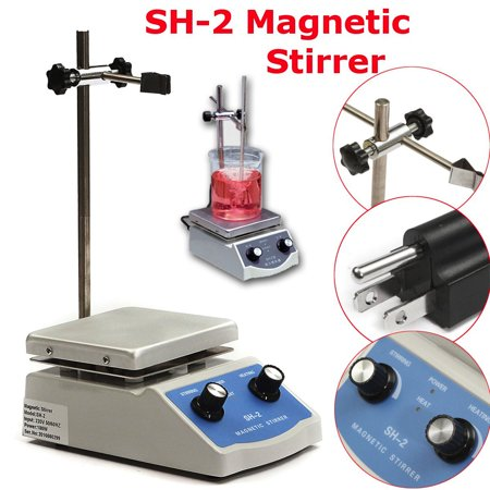 (110V/50Hz SH-2 Hot Plate Magnetic Stirrer Stirring Dual Control Machine Stir With Stir Bar C3)