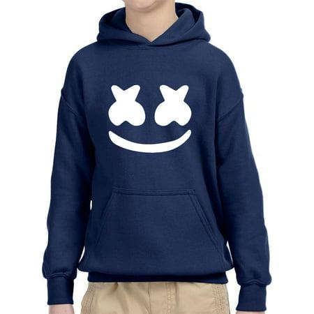 Trendy USA 984 - Youth Hoodie Marshmello DJ Smiley Face Unisex Pullover Sweatshirt Large Navy