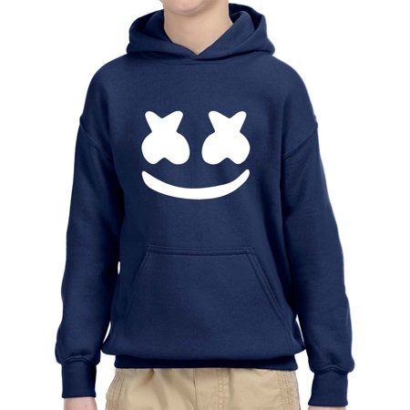 - Trendy USA 984 - Youth Hoodie Marshmello DJ Smiley Face Unisex Pullover Sweatshirt Large Navy