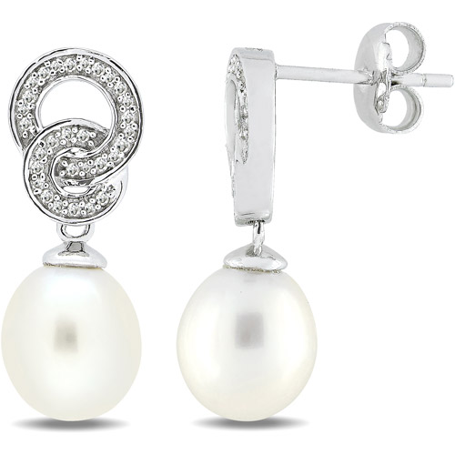 8-8.5mm White Cultured Freshwater Pearl and 1/10 Carat T.W. Diamond Sterling Silver Drop Earrings