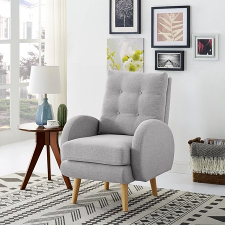 Dazone Modern Accent Armchair Single Sofa Leisure Living Room Furniture For Home Office Garden Linen Fabric Cover Removable Cushion Solid Wood Frame