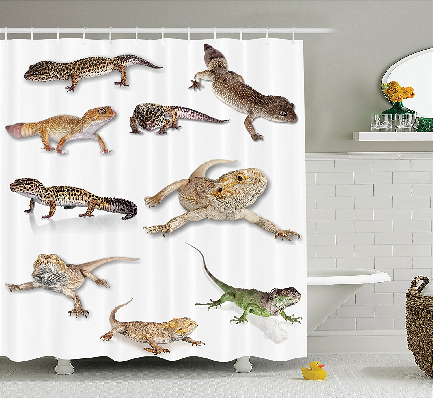 Reptile Decor Shower Curtain Set By , Multi Colored Stari...
