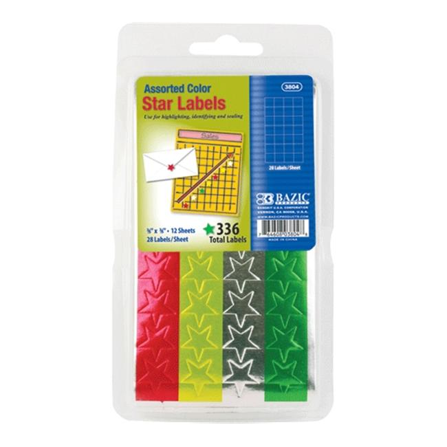 BAZIC Assorted Color Foil Star Label (432/Pack)(Pack of 24 )