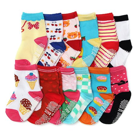 Gripper Baby Socks (ShoppeWatch 12 Pairs Baby Toddler Socks with Grips Anti-Slip Non-Skid Grippers For Kids Infant Babies Unisex 2T and 3T Walkers 12-24 and up to 36 Months)