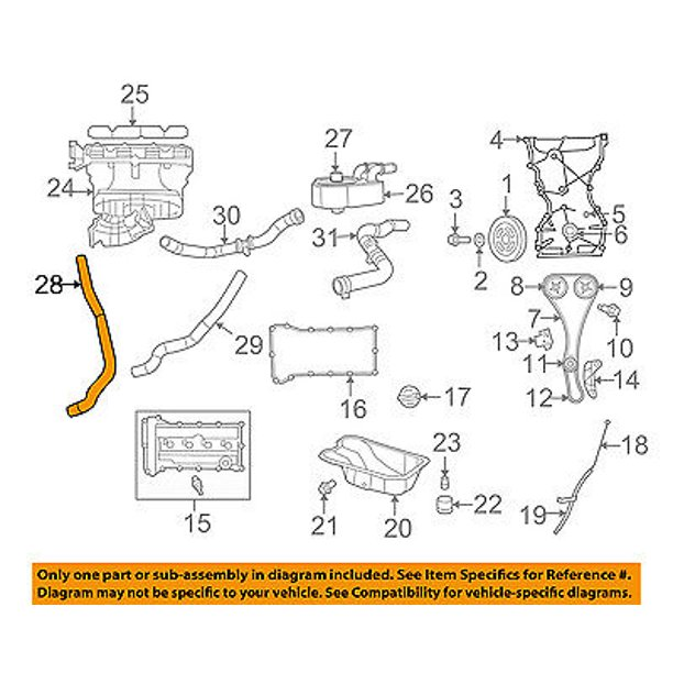 Dodge CHRYSLER OEM 09-13 Journey 2.4L-L4 Engine Parts-Inlet Hose 5291898AB  - Walmart.com - Walmart.com | 2013 Dodge Journey Engine Diagram |  | Walmart