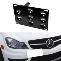 iJDMTOY Euro Style Front Bumper Tow Hole Adapter License Plate Mounting Bracket For Mercedes W204 C-Class W221 S-Class W166 ML-Class, etc