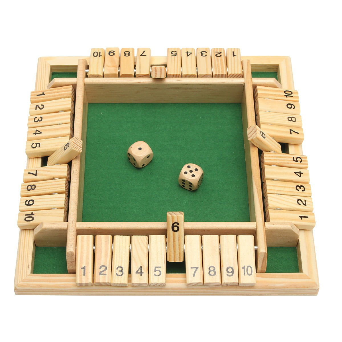 10 Numbers Traditional Wooden Board Game Set Pub Bar Game Family Dice Game Kids And Adults For Shut The Box 8 66 X 8 66 X 1 30 Inch Walmart Com Walmart Com