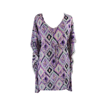 - Miken Swim Lavender Printed Chiffon Cover-Up XS