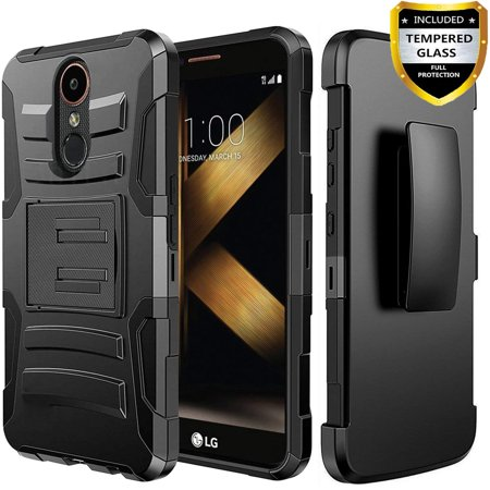 LG Stylo 4 Case, Dual Layers [Combo Holster] And Built-In Kickstand Bundled with [Temerped Glass Screen Protector] Hybird Shockproof And Circlemalls Stylus Pen