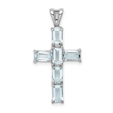 925 Sterling Silver Blue Aquamarine Cross Religious Pendant Charm Necklace Gemstone Aquamarine Religious Cross