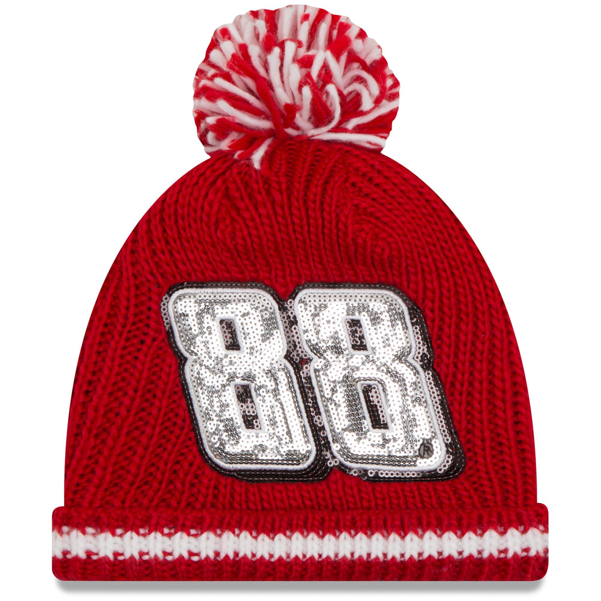 Dale Earnhardt Jr. New Era Women's Sequin Frost Cuffed Knit Hat with Pom - Red - OSFA