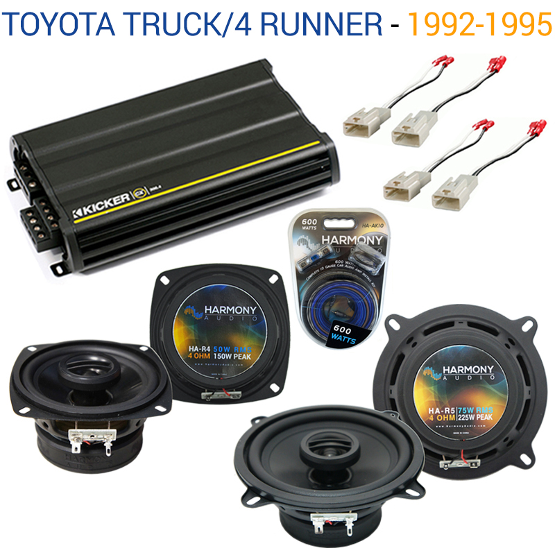 Toyota Truck/4 Runner 92-95 OEM Speaker Upgrade Harmony R4 R65 & CX300.4 Amp - Factory Certified Refurbished