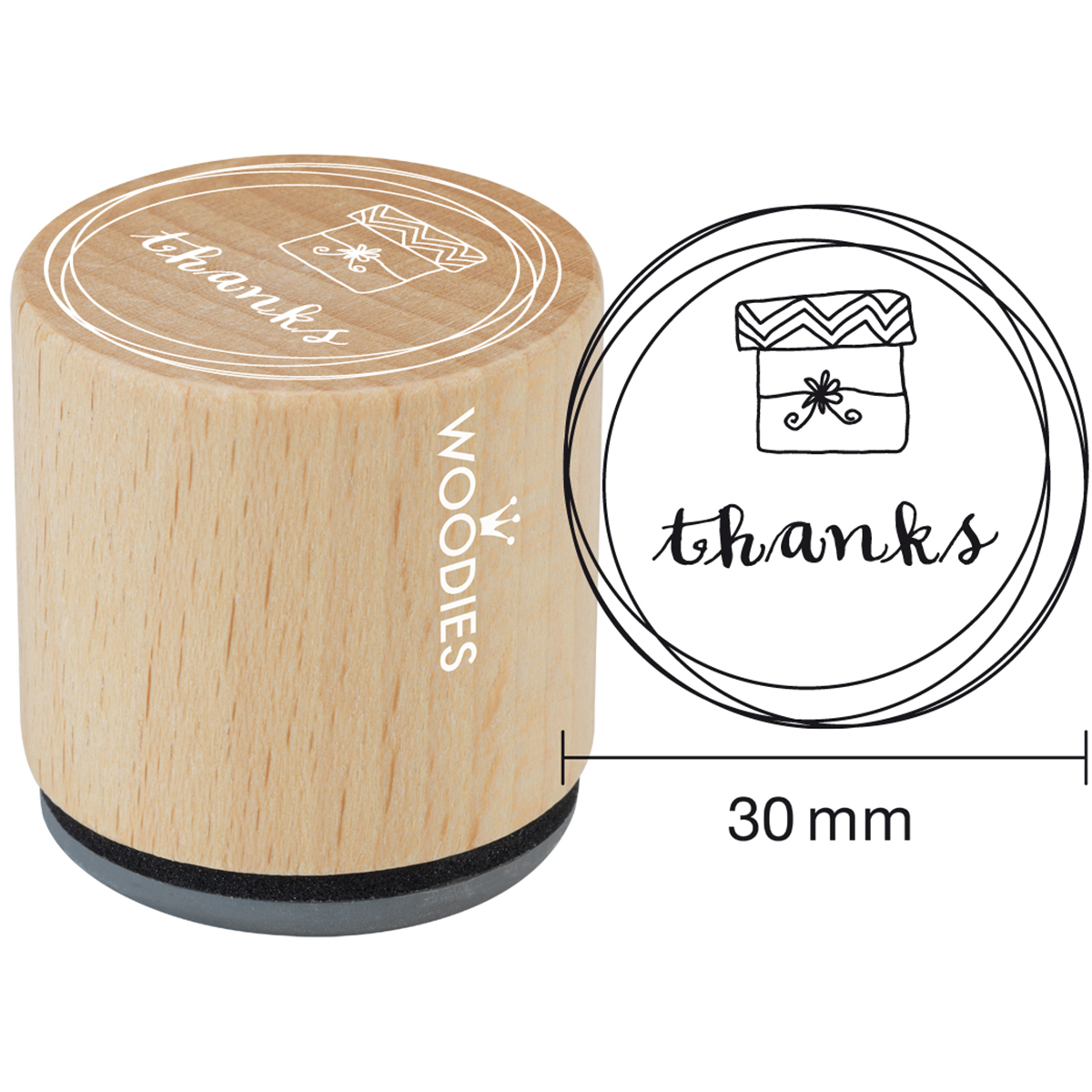 "Woodies Mounted Rubber Stamp 1.35""-Thanks"