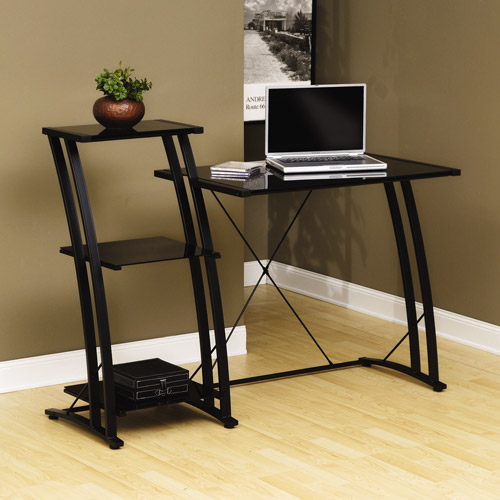 Sauder Deco Tiered Desk, Black Finish