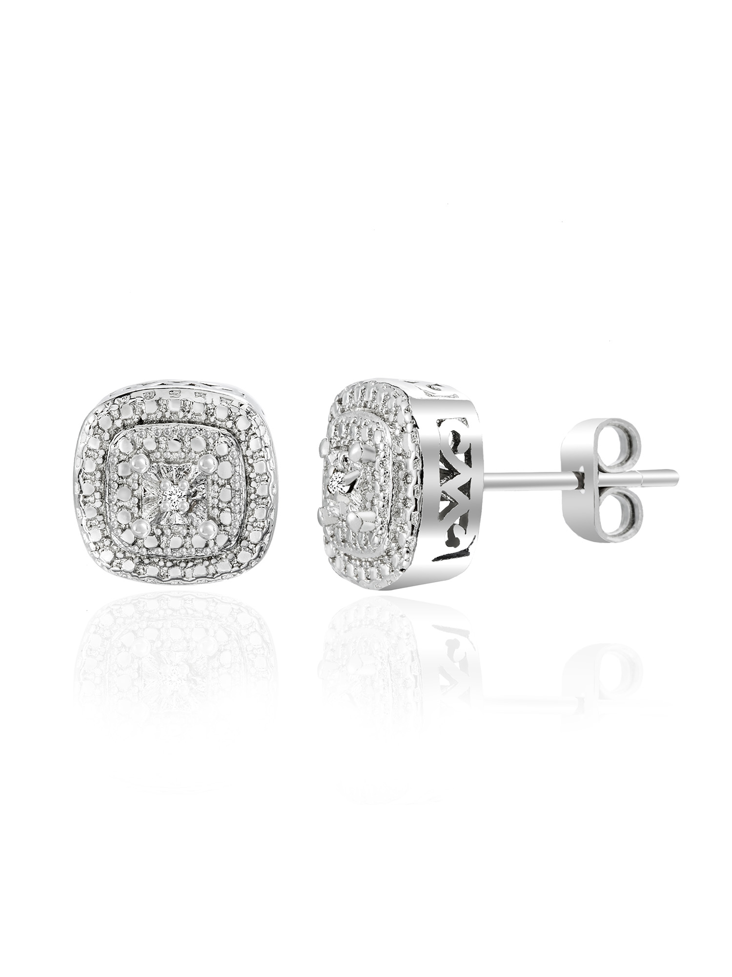 Lumineux Diamond Accent Pave Halo Square Stud Earring