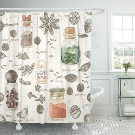 PKNMT Beige Food of and Watercolor Spices in Vintage Style Brown Salt Recipe Pepper Cumin Shower Curtain Bath Curtain 66x72 inch