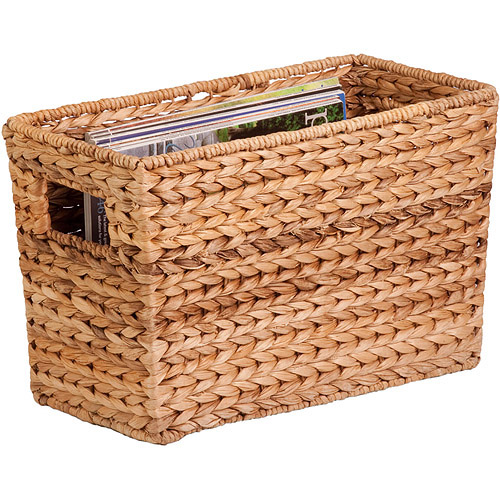 Honey Can Do Magazine Water Hyacinth Basket with Iron Frame, Brown