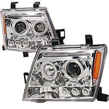 Nissan Xterra Tune Up - Spec-D Tuning 2LHP-XTE05-TM Nissan Xterra Chrome Clear Halo Led Projector Headlights