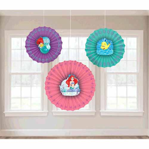 Ariel the Little Mermaid Dream Big Paper Fan Decorations (3pc)