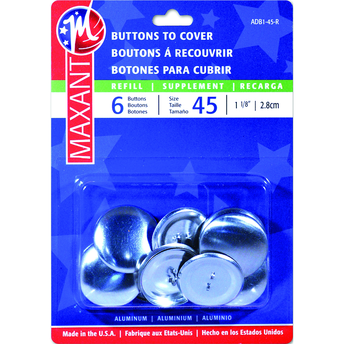 Maxant Button 3-Pack Cover Button Refill, 1-1/8-Inch Multi-Colored