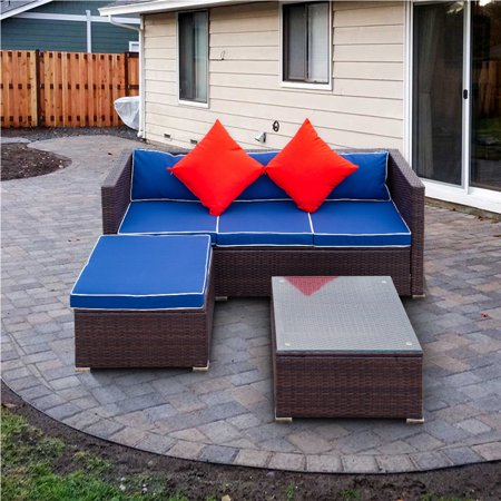 Wicker Patio Conversation Sets Clearance, Rattan Outdoor Sectional Sofa Set, Brown Wicker Bistro Patio Set w/Dark Blue Cushion & Coffee Table, 3 Pieces Patio Furniture for Backyard, Porch, Pool, W015