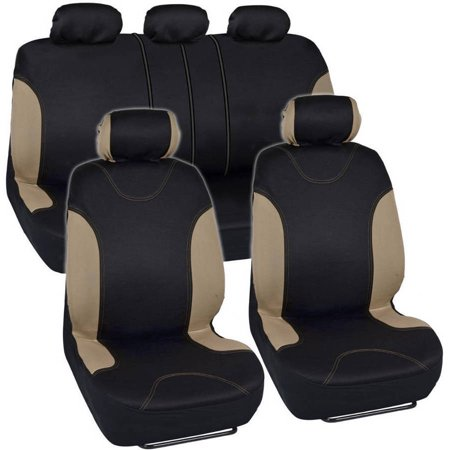 BDK Sleek and Stylish Car Seat Covers, Split Bench Option, 5 Headrests, Side Airbag (Seal Head)