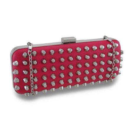 Zeckos - Conical Chrome Studded Handbag Hard Shell Clutch Purse - Pink - Size Small