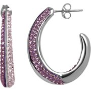 Swarovski Element Sterling Silver Purple Hoop Earrings