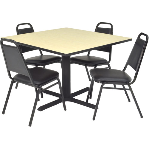 "Regency 5-Piece 36"" Square Lunchroom Table with Metal ""X"" Base and 4 Chairs"