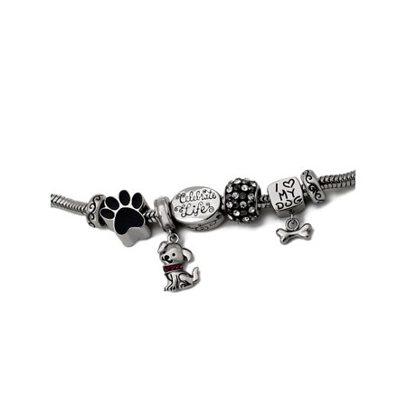 Stainless Steel Limited Edition Dog Bracelet and Charm (Best Hooami Charm Bracelets)