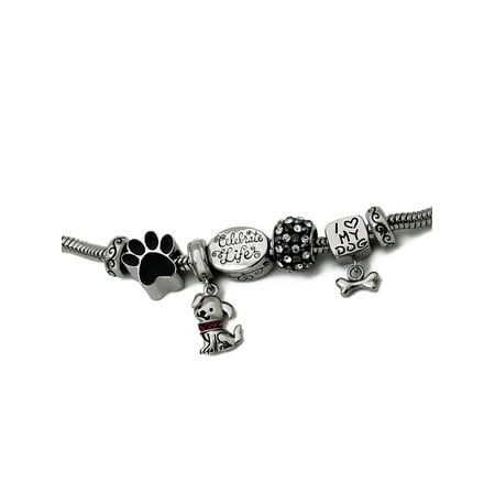 Connections from Hallmark Stainless Steel Limited Edition Dog Bracelet and Charm Pack (Cheap Bracelet)