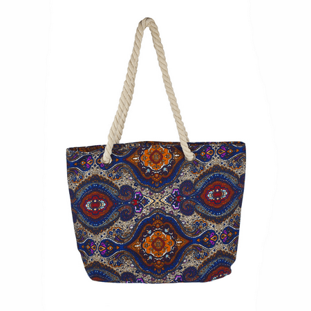 Lux Accessories Womens Extra Large Zip Up Beach Tote Bag Paisley Multi