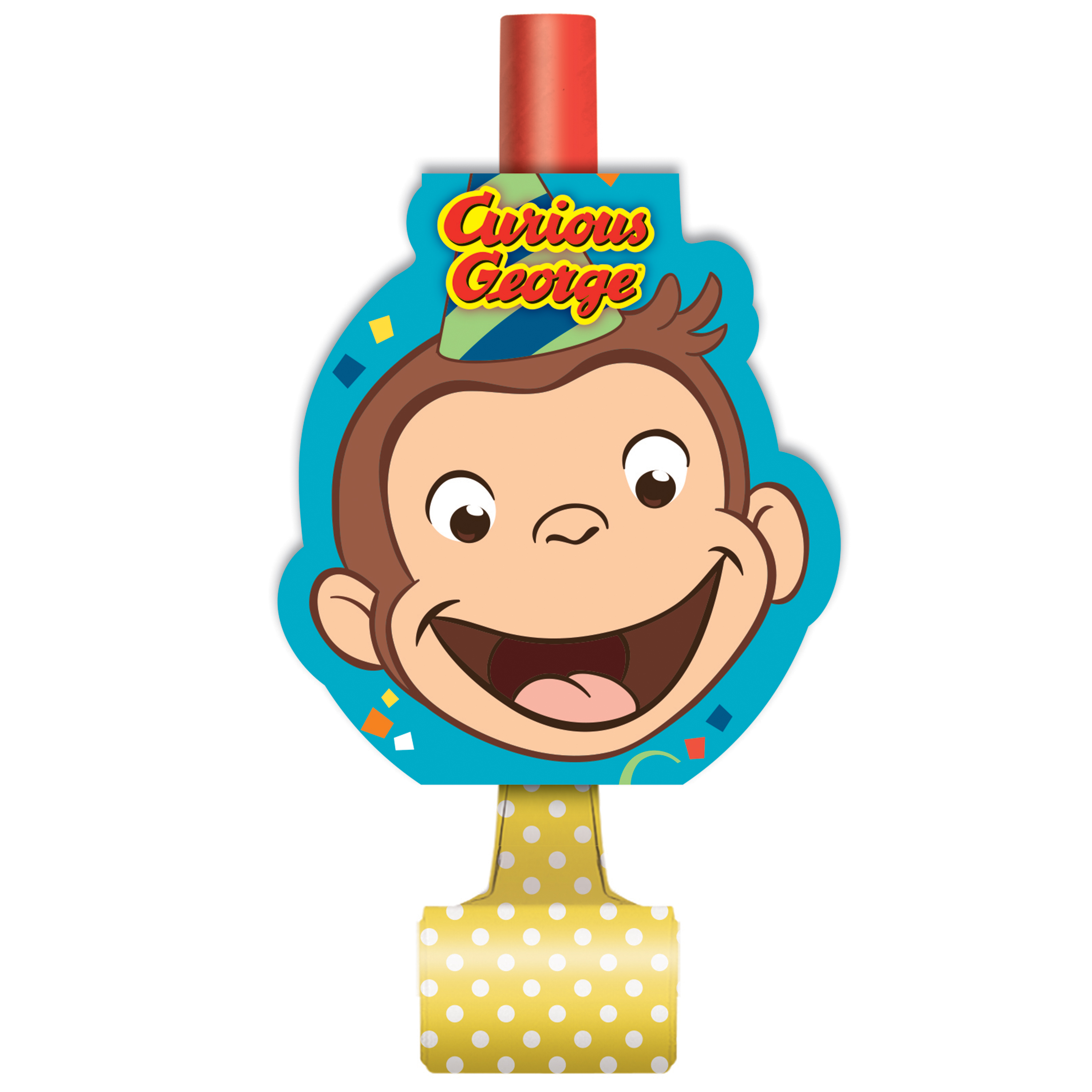 Unique Industries Curious George Birthday Party Favors Pack for 8 Guests Including Kids Hats and Blowouts