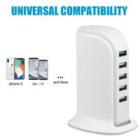 6 Port USB Hub Tower - Multi-Port USB Tower Hub Desktop Cellphone USB Charging Station Charging Tower Charge 6 Devices at Once