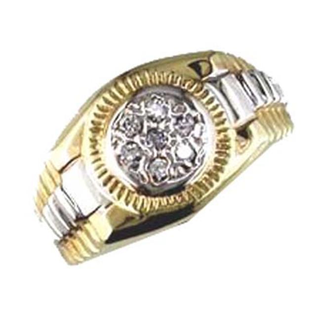 Men's 14K Two Tone Diamond Pinky Ring Size 6. 5